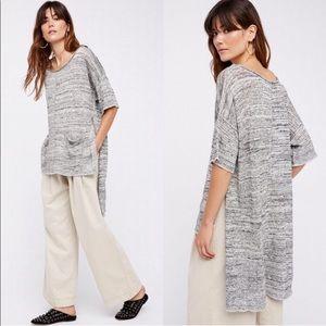 Free People Oversized Long Knit Linen Boho Top